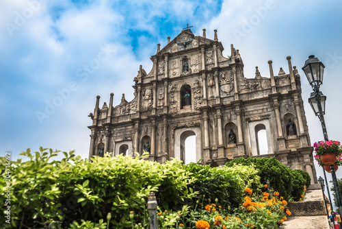 Staande foto Aziatische Plekken The Ruins of St. Paul's in Macau, China.
