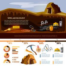 Study Of Underground Caves Vector Illustration. Speleology Spelunker Infographic Elements