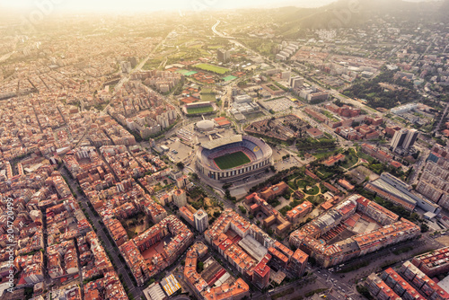 Aerial view of Barcelona Camp Nou stadium at sunset, Spain