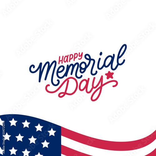 Cuadros en Lienzo  Happy Memorial Day handwritten phrase in vector
