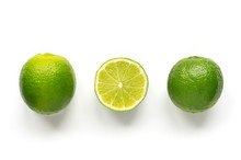 Isolated Limes. Row Ripe Citru...