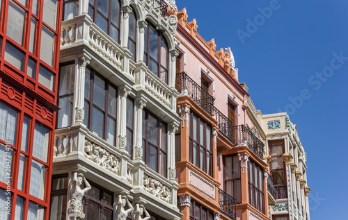 Colorful facades in the center of Zamora, Spain