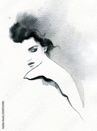 Tuinposter Aquarel Gezicht beautiful woman. fashion illustration. melancholy. watercolor illustration