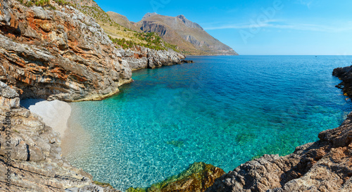 Poster Cote Sea bay in Zingaro Park, Sicily, Italy