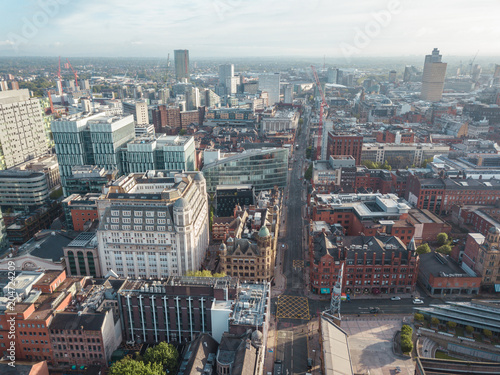 Stampa su Tela Manchester City Centre Drone Aerial View Above Building Work Skyline Construction Blue Sky Summer Beetham Tower Deansgate