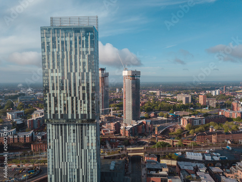Cuadros en Lienzo Manchester City Centre Drone Aerial View Above Building Work Skyline Construction Blue Sky Summer Beetham Tower Deansgate