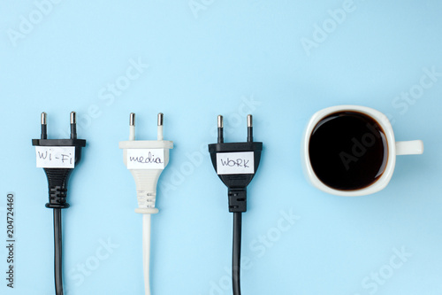 Pinturas sobre lienzo  Trendy flat lay minimal concept, unplugged cord with word work, media, wi-fi and cup of coffee n bright background, concept of a break, rest from modern technologies