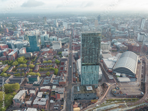 Fotomural Manchester City Centre Drone Aerial View Above Building Work Skyline Construction Blue Sky Summer Beetham Tower Deansgate
