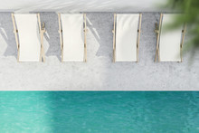 Rows Of Beach Chairs Near Pool, Top View