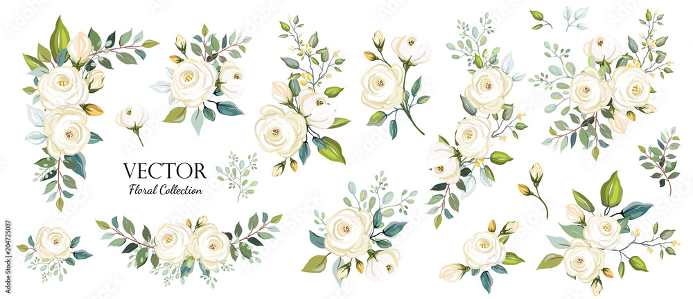 Fototapety, obrazy: Set of floral branch. Flower white rose, green leaves. Wedding concept. Floral poster, invite. Vector arrangements for greeting card or invitation design background