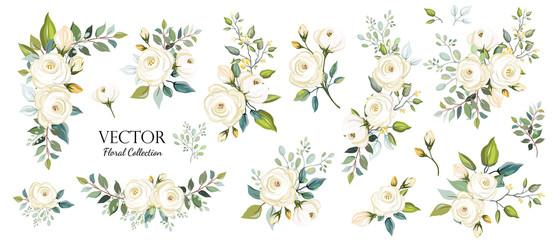 Zestaw kwiatowy oddział. Kwiat białej róży, zielone liście. Koncepcja ślubu. Plakat kwiatowy, zapraszam. Wektor aranżacje na tło karty z pozdrowieniami lub zaproszenie