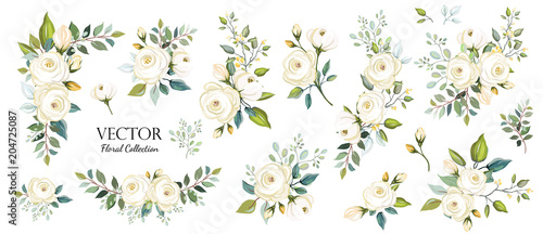 fototapeta na ścianę Set of floral branch. Flower white rose, green leaves. Wedding concept. Floral poster, invite. Vector arrangements for greeting card or invitation design background