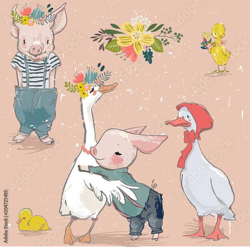 kolekcja ze świnką i kaczką
