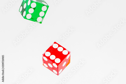 colorful dice on a white background плакат