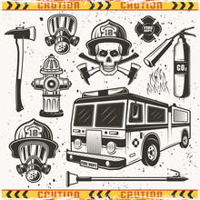 Firefighters Equipment Set Of Vector Objects