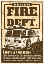Fire Department Poster In Vintage Style With Truck