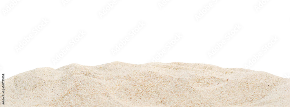 Fototapeta Pile dry sand isolated on white.