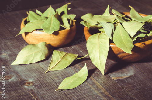 spices of bay leaf in rural style on a dark background/bay leaf on a dark wooden surface. selective focus