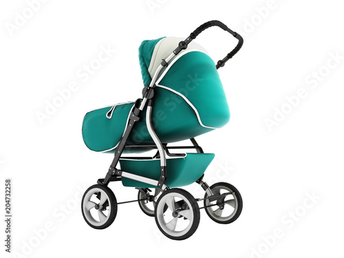 Modern baby stroller with dome against the rain and wind blue with white insets Poster
