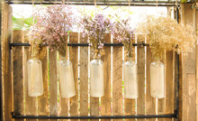 Dried Flowers Bouquet Hanging In Glass Bottel On Wooden Wall