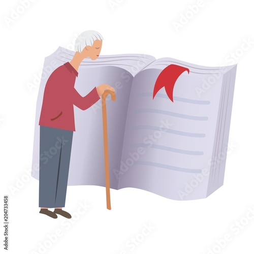 Photo Old man with walking cane standing in front of a big book