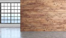 Loft Wood Empty Room Interior ...