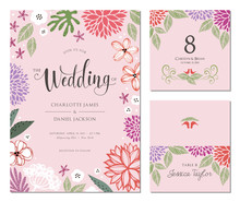 Wedding Invitation, Table Number And Name Place Card Design.