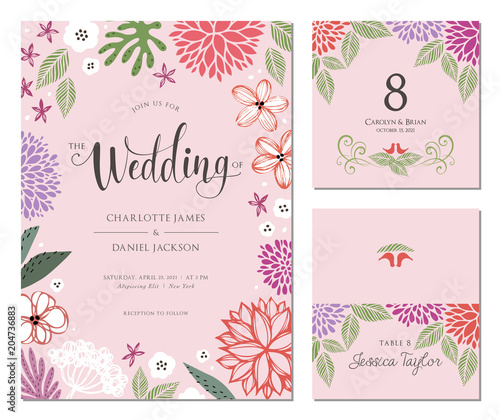 Fototapeta Wedding Invitation Table Number And Name Place Card Design