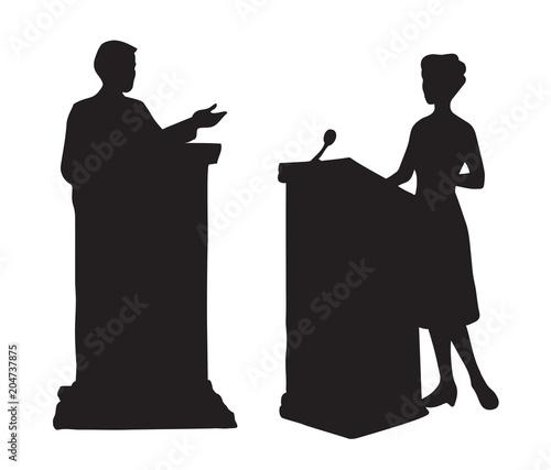 Fotografía Speaker at podium. Vector drawing