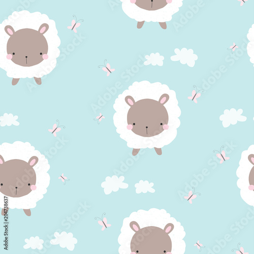 Cute white sheep seamless pattern. Childish print. Vector hand drawn illustration.