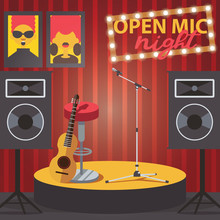 Scene With Open Mic, Guitar, M...