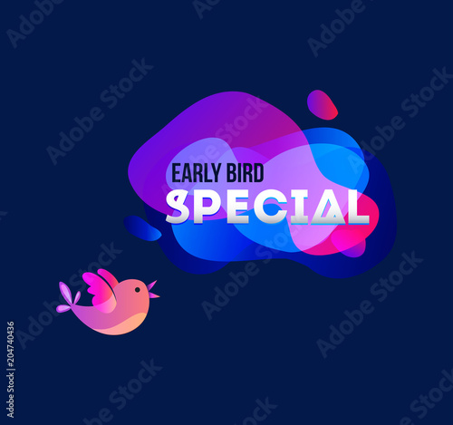 Photo  Early bird special banner with bird and geomethic shapes