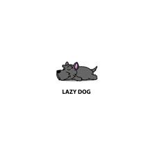 Lazy Dog, Cute Scottish Terrier Puppy Sleeping Icon, Logo Design Vector Illustration