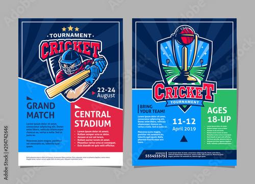 cricket tournament sport poster flyer vector design template buy