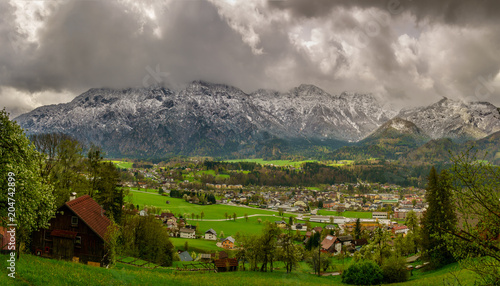 Foto op Aluminium Donkergrijs Spring Alpine Landscape