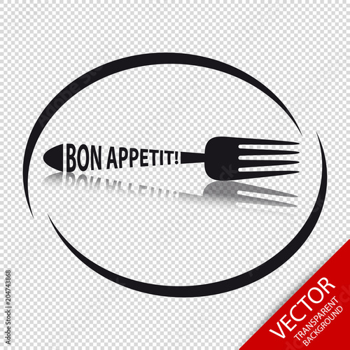 Fotografie, Obraz Fork Icon Bon Appetit - Circular Restaurant Symbol - Isolated On Transparent Bac