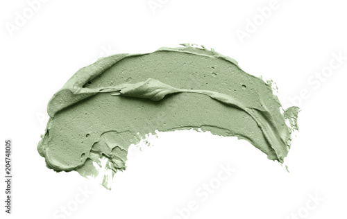 Fototapeta Blue clay facial mask smear on white isolated background