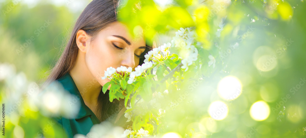 Fototapety, obrazy: Beauty young woman enjoying nature in spring apple orchard, Happy beautiful girl in a garden with blooming fruit trees