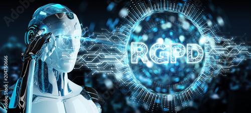 Papiers peints Secheresse White cyborg using digital GDPR interface 3D rendering