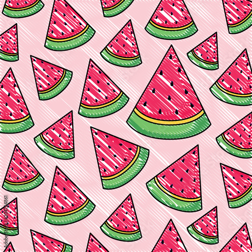Cotton fabric background of watermelon pattern, vector illustration design
