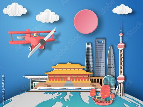 Paper art shanghai ,China infographic Poster