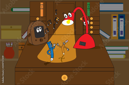 Poster  1930 style cartoon characters of a desk lamp, pen, pencil, radio dancing on a desk top with bookcase background