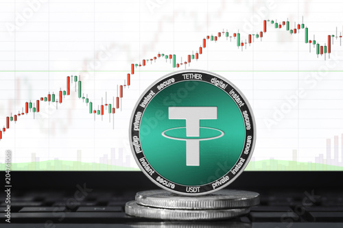 Fotografía  TETHER (USDT) cryptocurrency; physical concept tether coin on the background of