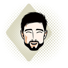 Caucasian man face expressing happiness, vector human head illustration. Attractive bearded male with whiskers.