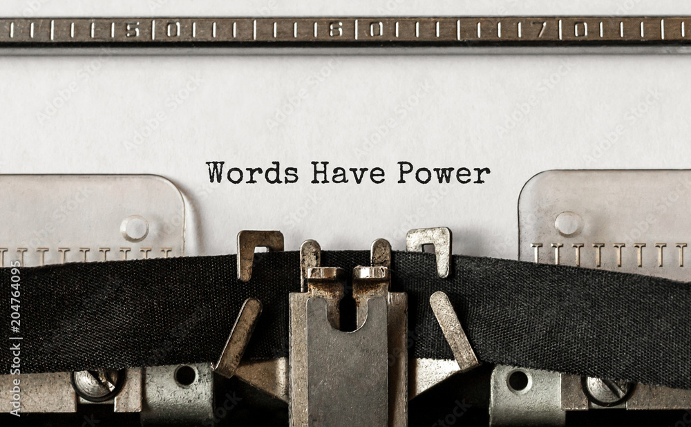 Fototapeta Text Words Have Power typed on retro typewriter
