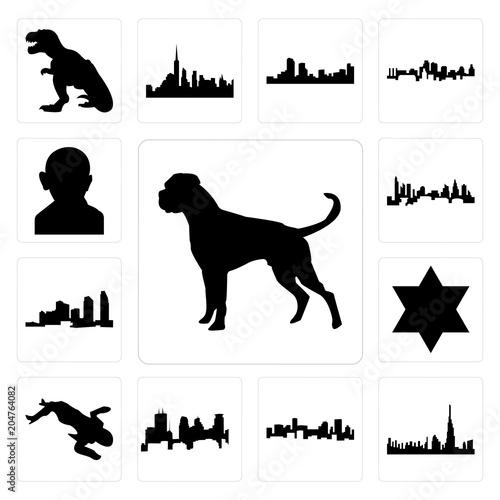 Set of boxer dog, dubai skyline, denver minneapolis skyline on white