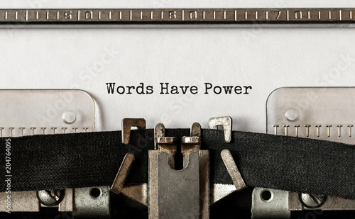 Valokuvatapetti Text Words Have Power typed on retro typewriter