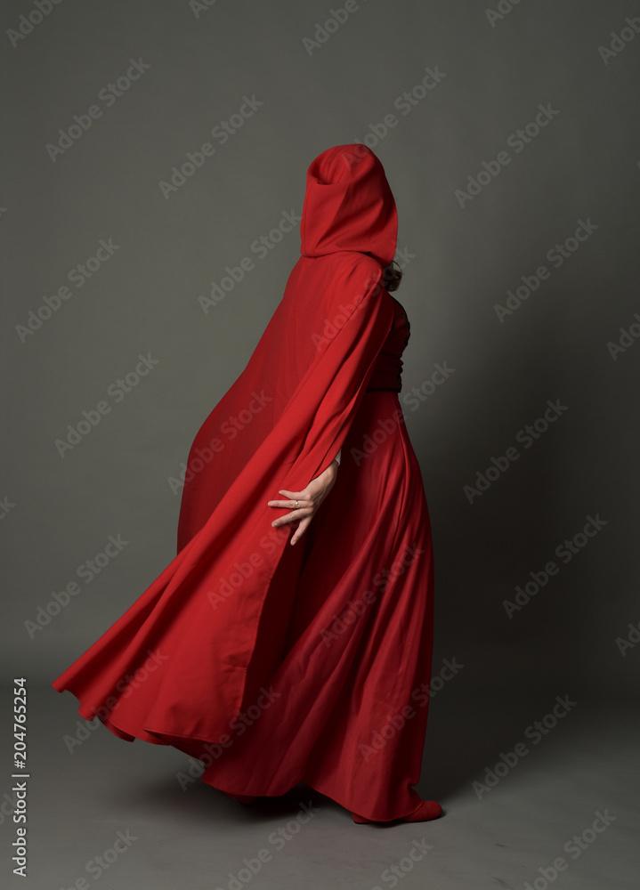 Photo Art Print Full Length Portrait Of Woman Wearing Red