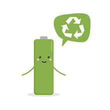 Cute Cartoon Battery Character...