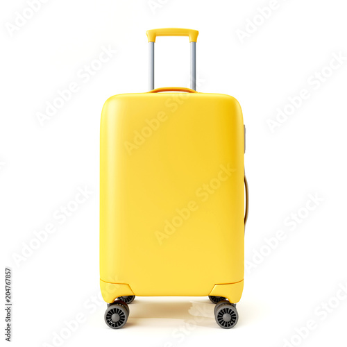 Canvastavla Yellow suitcase isolated on white background.